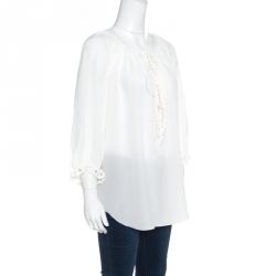 35e61d551c5890 Chloe Iconic Milk White Silk Scalloped Lace Trim Peasant Blouse L