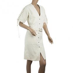 Chloe Denim Cream Criss Cross Sleeve Dress M