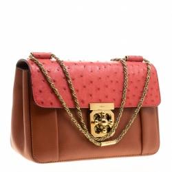 Chloe Copper/Red Leather and Ostrich Medium Elsie Shoulder Bag