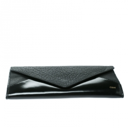 Chloe Black Leather and Patent Leather Envelope Wallet