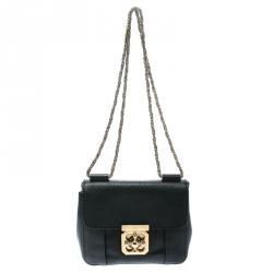 Chloe Black Leather Small Elsie Shoulder Bag