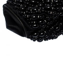 Chloe Black Beaded Satin Crystal Embellished Ring Handle Clutch
