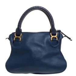 Chloe Blue Leather Medium Marcie Shoulder Bag