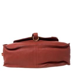 Chloe Orange Leather Medium Marcie Shoulder Bag