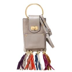 Chloe Beige Suede and Leather Mini Jane Bracelet Bag