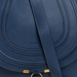 Chloe Blue Leather Medium Marcie Crossbody Bag