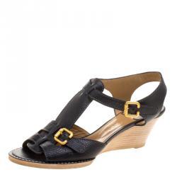 6da02eb999a Chloe Black Leather T-Strap Wooden Wedge Sandals Size 40