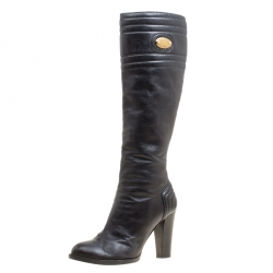 c16342ea5248 Buy Christian Louboutin Brown Leather Mervillon Knee Boots Size 38 ...