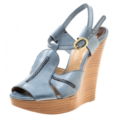 17dcbbdb780 Chloe Blue Leather Peep Toe Platform Wedge Sandals Size 38