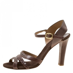 4bac4123a38 Chloe Brown Leather Braid Detail Ankle Strap Sandals Size 42