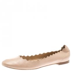 21e75c2bbe3 Chloe Beige Leather Lauren Scalloped Ballet Flats Size 40