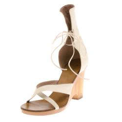 2c890b1e396ce3 Chloe White Leather Gladiator Platform Sandals Size 39