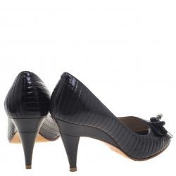 Chloe Black Patent Leather Line Stitch Detail Peep Toe Pumps Size 36.5
