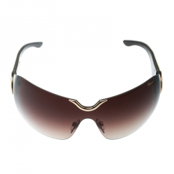 deddce572a17b Chopard Gold   Brown Gradient Embossed SCH 883S Crystal Embellished Shield  Sunglasses