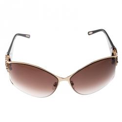 677096cb7801b Chopard Gold Brown Gradient SCH 805S Crystal Embellished Rectangular  Sunglasses