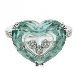 1f175e4eb4d Chopard So Happy Green Stone Heart Diamond 18k White Gold Ring Size 51