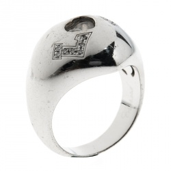 e57b8654f2d Chopard Happy Love Heart Diamond 18k White Gold Dome Ring Size 57