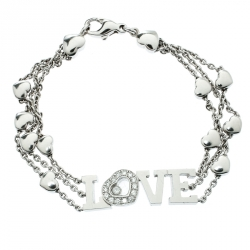 35329fa33d7 Chopard Happy Diamond Heart Love 18k White Gold Charm Link Bracelet