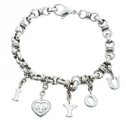 de3f41828cd Chopard Happy Diamond I Love You Heart Charm 18k White Gold Link Bracelet