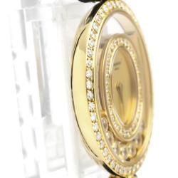Chopard Gold Diamonds 18K Yellow Gold Happy Diamond 20/4292 Women's Wristwatch 24 MM