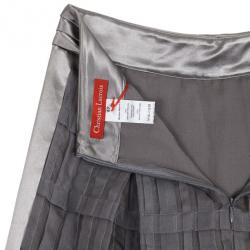 Christian Lacroix Grey Pleated Midi Skirt L