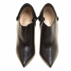 Christian Louboutin Black Leather Huguette Pointed Toe Ankle Booties Size 41