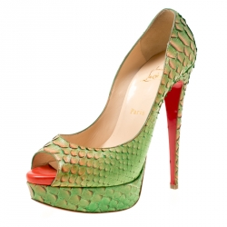 280e201cb80 Christian Louboutin Two Tone Python Leather Troca Altareva Lady Peep Toe  Platform Pumps Size 40