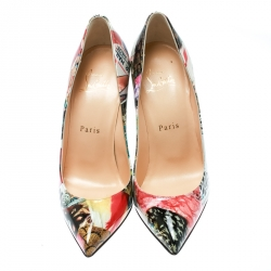 Christian Louboutin Multicolor Patent Leather Pigalle Follies Patent Trash Pointed Toe Pumps Size 36.5