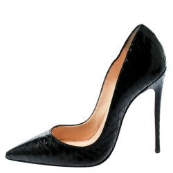 07d652d2f801 Christian Louboutin Black Gloss Python Leather So Kate Pointed Toe Pumps  Size 35.5