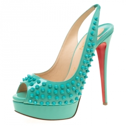 2901577f9fc Christian Louboutin Turquoise Patent Leather Lady Peep Toe Spike Platform  Slingback Sandals Size 39