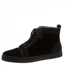 a5cc801f52010e Christian Louboutin Black Jeweled Velvet And Suede Trim Louis Orlato High  Top Sneakers Size 41