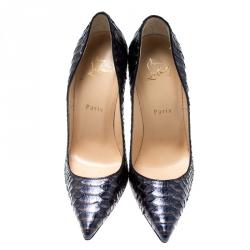 Christian Louboutin Metallic Blue Python Leather So Kate Pointed Toe Pumps Size 37.5