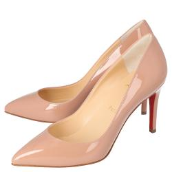 Christian Louboutin Nude Patent Leather Pigalle Pointed Toe Pumps Size 40.5