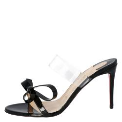 Christian Louboutin Black Patent Leather and PVC Band Knot Just Nodo Mules Size 40