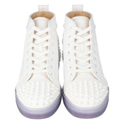 """Christian Louboutin White Embossed """"LoubinTheSky""""€ Leather Lou Spikes 2 High-Top Sneakers Size 44.5"""