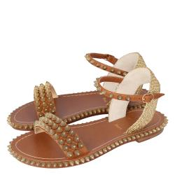 Christian Louboutin Beige Cordorella Spiked Flat Leather Sandals Size 41