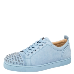 Christian Louboutin Light Blue Suede Vieira Spikes Low-Top Sneakers Size 42