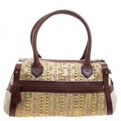 حقيبة كريستيان لوبوتان زخرفة ديسك ذهبي جلد وقماش بنية/ بيج