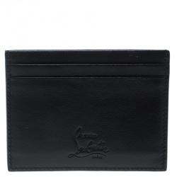 محفظة بطاقات كريستيان لوبوتان كايوس جلد أسود مرصعة