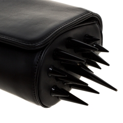 Christian Louboutin Black Leather Marquise Spiked Clutch
