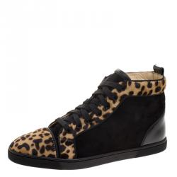 b12e9b775554 Christian Louboutin Leopard Print Pony Hair And Suede Bip-Bip High Top  Sneakers Size 38.5