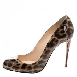 9ace575c59e Christian Louboutin Brown Leopard Print Patent Leather Dorrissima  Leopardino Pumps Size 39.5