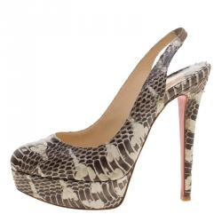 Christian Louboutin Two Tone Python Leather Bianca Platform Slingback  Sandals Size 35 f20060d49d