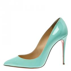 Christian Louboutin Mint Green Patent Leather Pigalle Pointed Toe Pumps Size 41