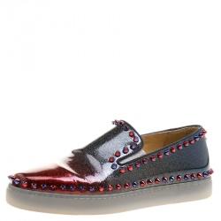1d36f56dca77 Christian Louboutin Ombrè Glitter Patent Leather Spike Pik Boat Slip On Sneakers  Size 37.5