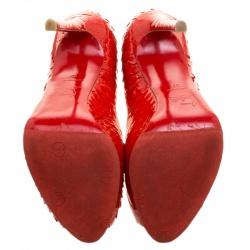 Christian Louboutin Red Python Flo Peep Toe Pumps Size 37