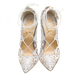 Christian Louboutin White Laser Cut Leather Impera Lace Up Pointed Toe Pumps Size 35.5