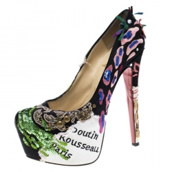 b7979be87135 Christian Louboutin Limited Edition Daffodile Brodee Crepe Satin Pumps Size  36.5