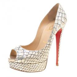 41aa59041f8 Christian Louboutin Metallic Silver Python Print Fabric Lady Peep Toe  Platform Pumps Size 38