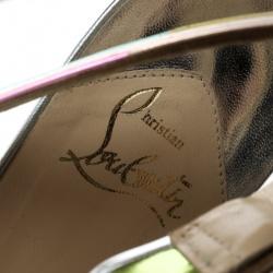 Christian Louboutin Multicolor Metallic Leather Meteorita Cross Strap Platform Sandals Size 40
